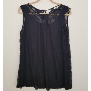 Cabi black lace date night tunic top - medium